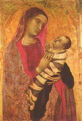 Ambrogio Lorenzetti's Madonna and Child (1319) depicts swaddling bands