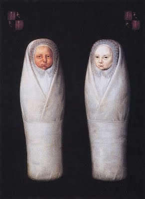 De Wikkkelkinderen or The Swaddled Twins, artist unknown, painting dated April 7, 1617