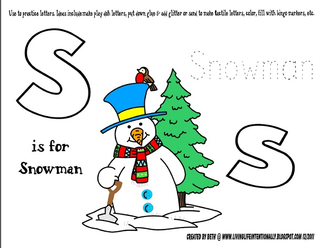 Snowman free printable2