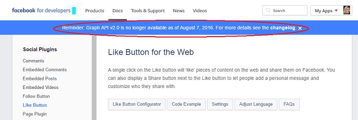 FB schimbare API