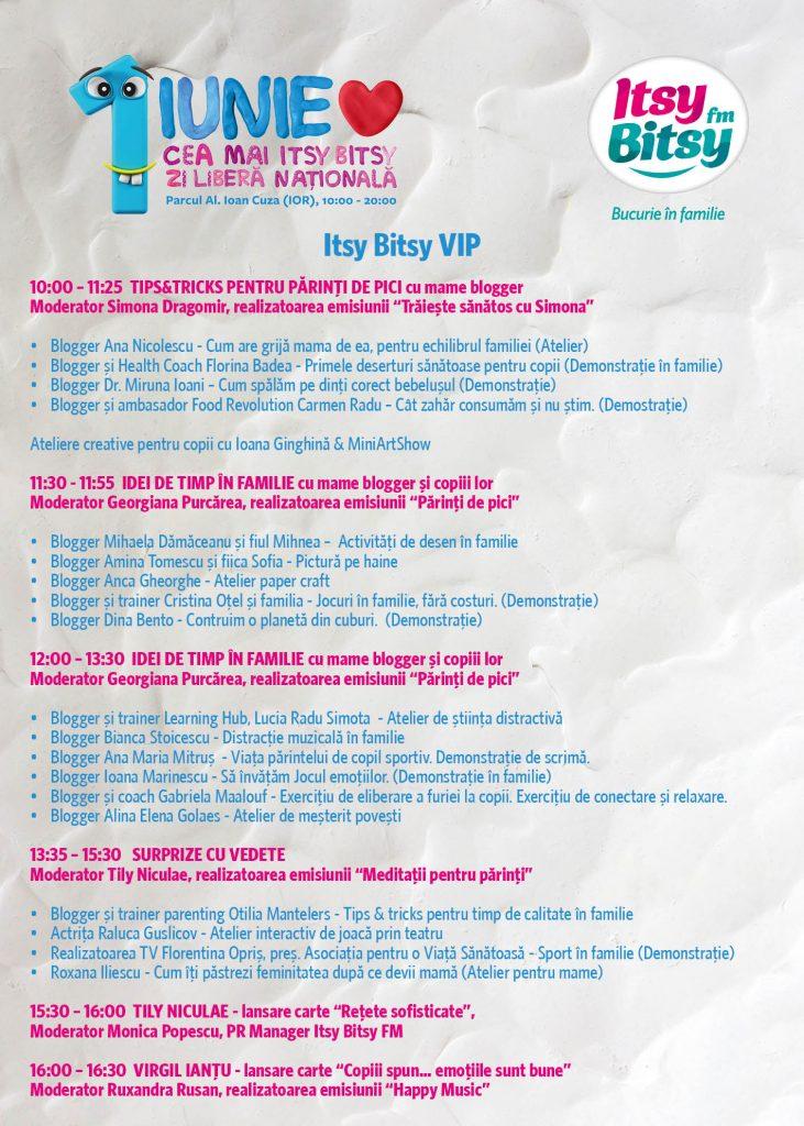 Program Itsy Bitsy VIP 1 Iunie
