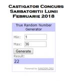 Castigatorul Concursului #SarbatoritiiLunii #Februarie #2018