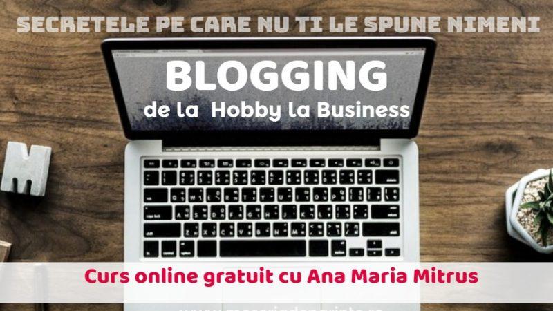 """""""Blogging – de la hobby la business"""" – curs online gratuit"""