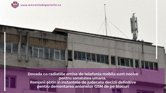 Dovada ca radiatiile emise de telefonia mobila sunt nocive pentru sanatatea umana. Romanii obtin in instantele de judecata decizii definitive pentru demontarea antenelor GSM de pe blocuri