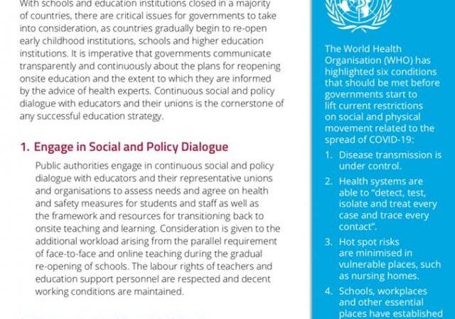 Ghidul international al educatiei privind deschiderea scolilor