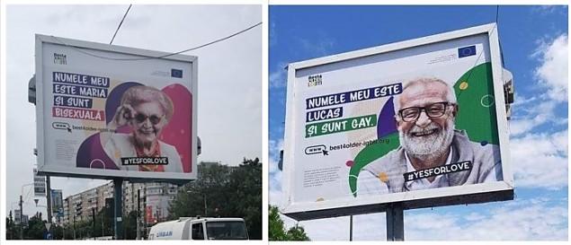 """""""Numele meu este Maria și sunt bisexuală"""". Așa sună un mesaj afișat pe un panou stradal din Capitală. Vasile Bănescu reclamă """"ofensiva obscenității publice cocoțată sfidător pe panouri stradale"""""""