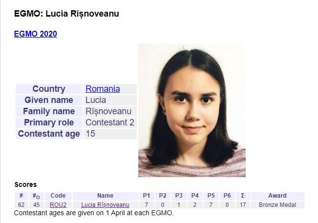 Elevă a Liceului Internațional de Informatică din Constanța Lucia Rîșnoveanu s-a calificat în lotul României la EGMO 2021
