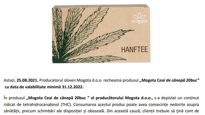 Produse alimentare cu concentratie mare de THC (componenta a canabisului) retrase din magazine
